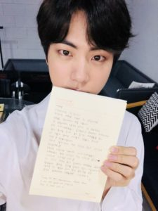 The Worldwide Handsome Bts Jin Shared A Heartwarming Letter On His Birthday Channel K