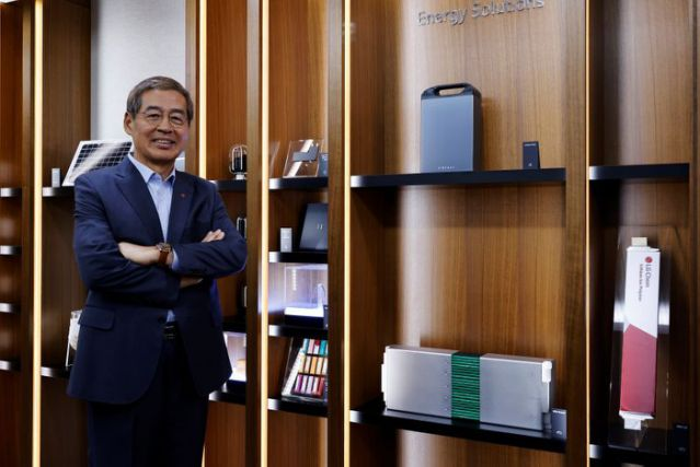 Shin Hak-cheol, CEO of LG Chem, poses for photographs after an interview with Reuters in Seoul