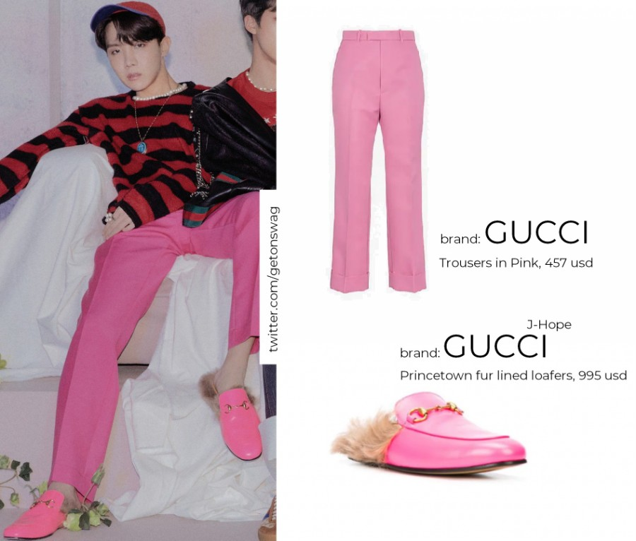 Hoseok Gucci Trousers and Princetown fur lined