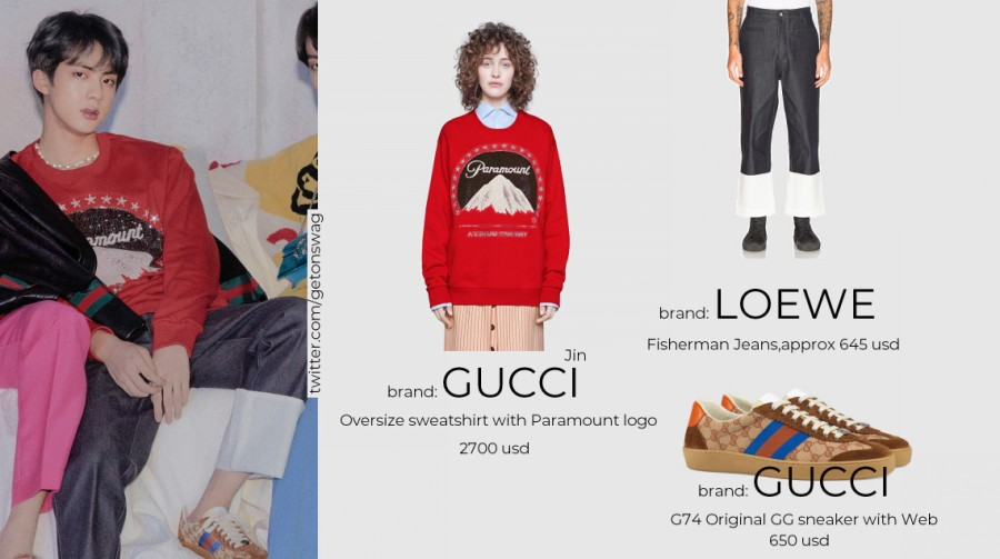 Jin Gucci Oversized Sweatshirt and GG Sneakers