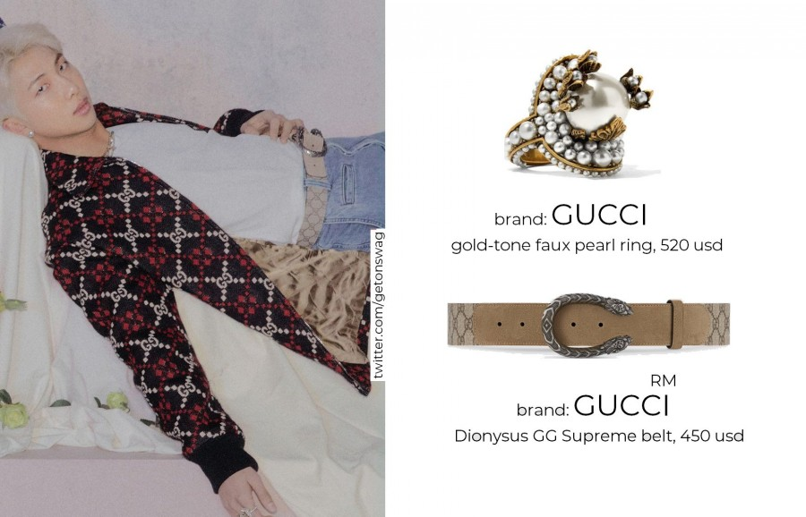 Namjoon Gucci Pearl Ring and Supreme Belt